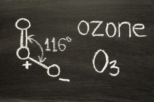 The world ozone with it's chemical notation: O3