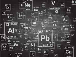 Chart of periodic elements (toxic metals)